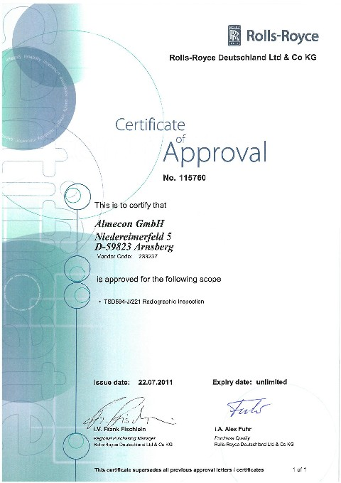 Certificate of Approval No.115760