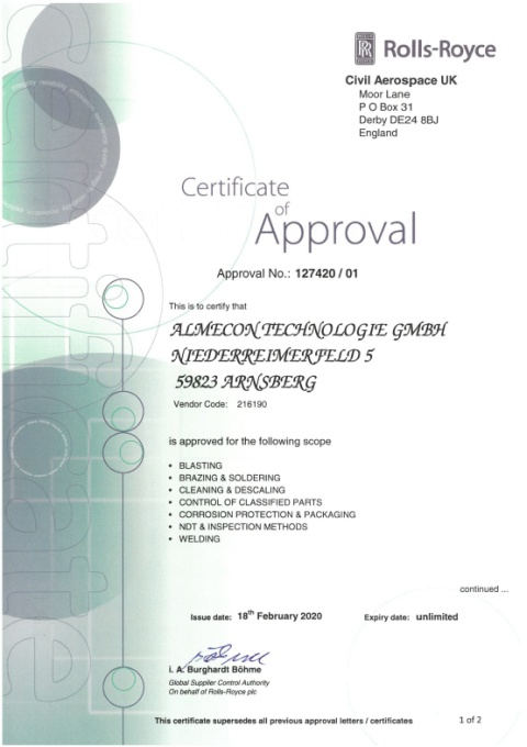 Certificate of Approval No.127420