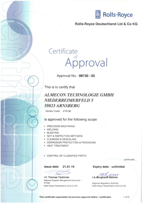 Certificate of Approval No.98730