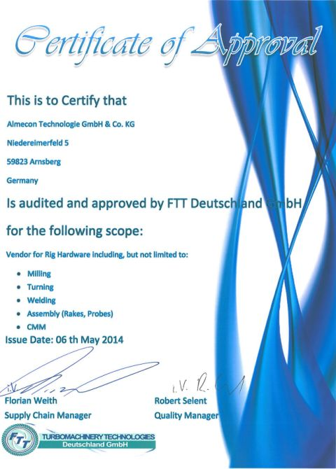 Certificate of Approval FTT